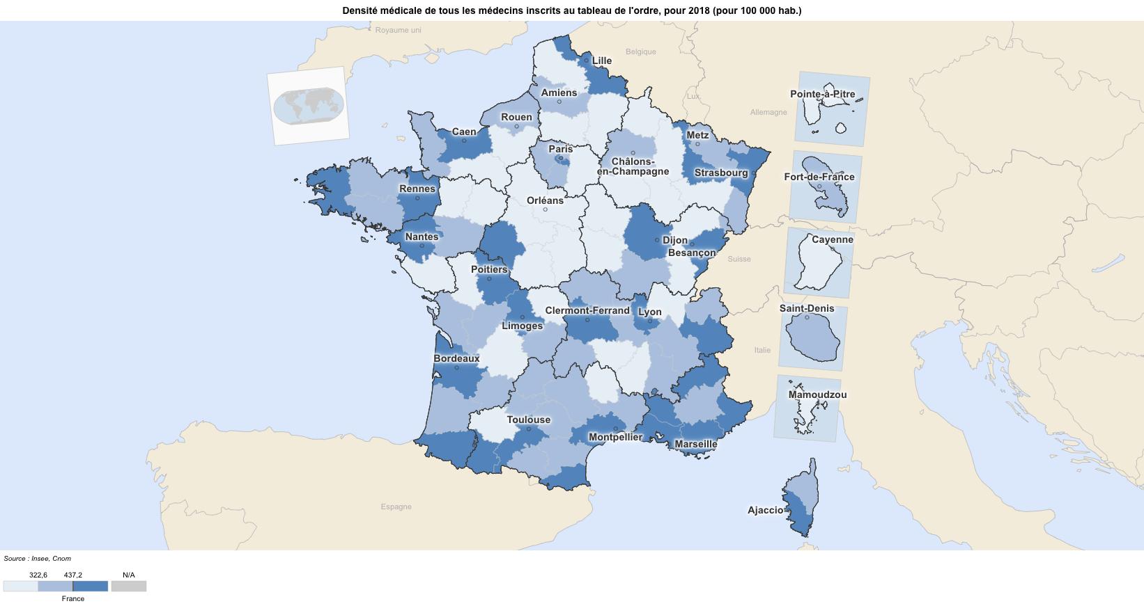 Carte deserts medicaux france 2018